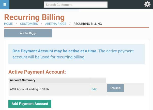 Recurring billing using Easy Stogage Software